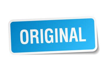 original blue square sticker isolated on white