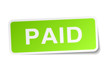 paid green square sticker on white background