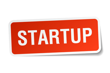 startup red square sticker isolated on white