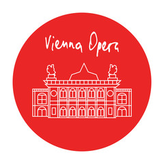 Vienna state opera house vector icon