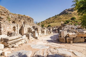 View of the ancient street in Ephesus archaeological area