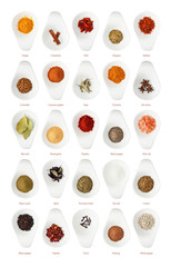 Different spices isolated on white background in ceramic cup