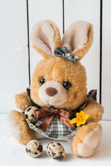 Cute Easter Bunny in a Dress with Quail Eggs and a Crocus Flower