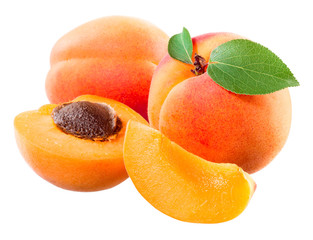 Apricot. Fruit with half and slice isolated on white.