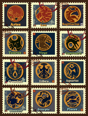 Set of postage stamps with zodiac sings