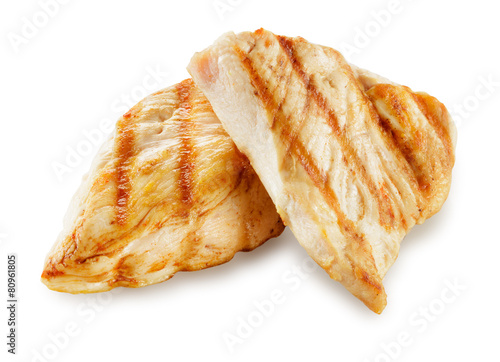 Prepared chicken meat. Breast fillet slices isolated. With clipp
