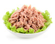 Canned tuna with green salad on white - 80962033