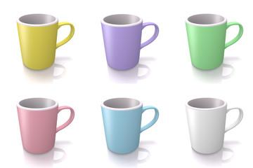 6種類のカラーマグカップ