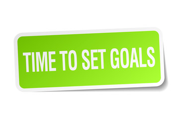 time to set goals green square sticker on white background