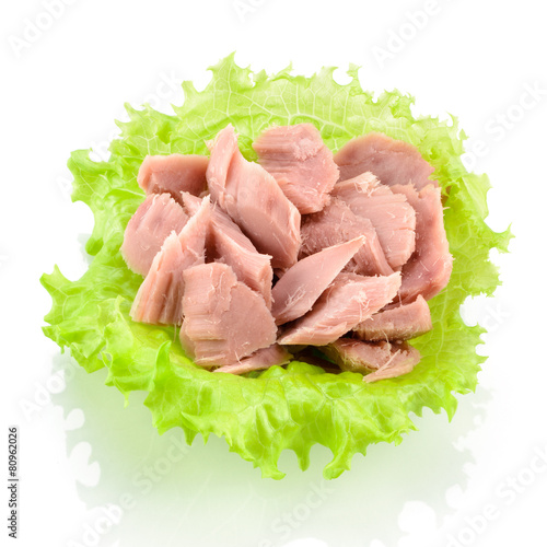 Canned tuna with green salad isolated on white - 80962026