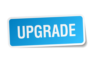upgrade blue square sticker isolated on white