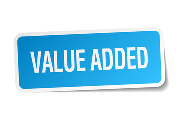 value added blue square sticker isolated on white