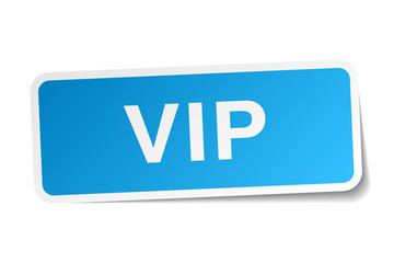 vip blue square sticker isolated on white