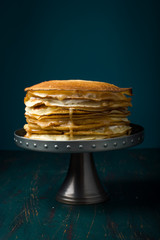 Crepe cake with custard cream and caramel