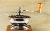 beans in old coffee grinder