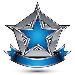 Vector glorious glossy design element, luxury blue 3d star with