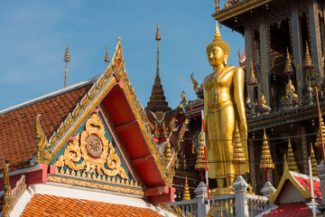 View of buddha statue and gable of a buddhist temple