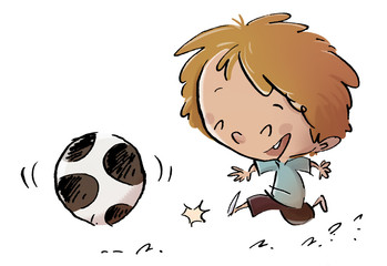 niño jugando con pelota
