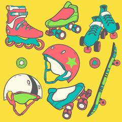 set_of_roller_skates_helmets_wheel