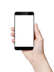 female teen hand hold digitally created generic smartphone with