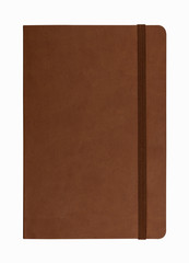 brown leather notebook isolated on white background