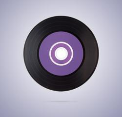 Black vinyl disk on gradient background