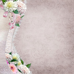 Beautiful border with flowers, lace on vintage background