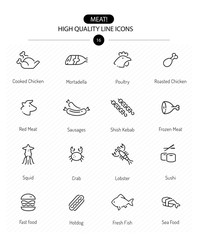 Meat Icons, Line Series: line meat icons including chicken, red