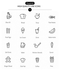 Food Icons Line Series: line food icons including coffee, soup a