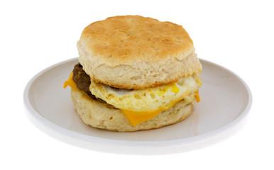 Breakfast Sandwich Isolated On Plate