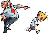 Cartoon father scolding unhappy boy