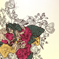 Floral background with engraved flowers
