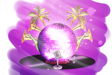 Musical background with vinyl record and disco ball