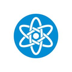 Atom part on white background vector icon.