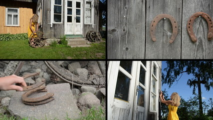 Woman decorate house with wheel and horse shoe. Video collage
