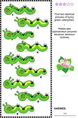 Visual puzzle - find two identical images of caterpillars