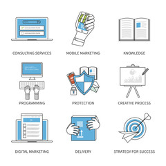 Flat design modern vector illustration concept for consulting