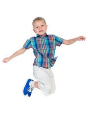 Cute little boy jumps