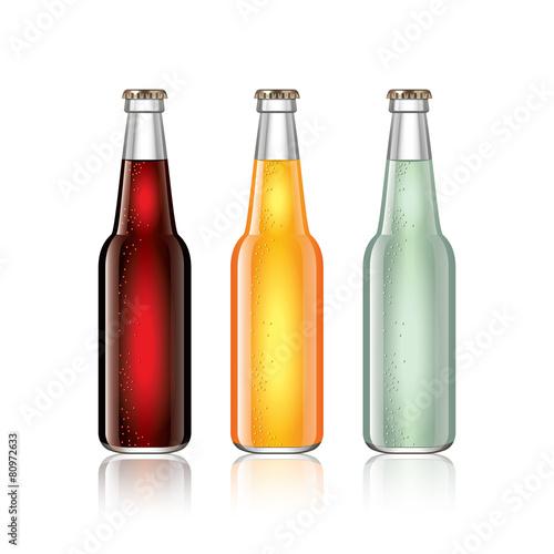 Glass soda bottles isolated on white vector - 80972633