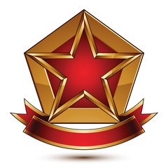 Golden vector stylized symbol with red star and glamorous wavy b