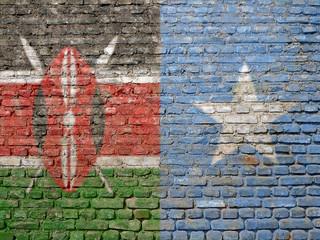 Kenya - Somalia flags painted on wall