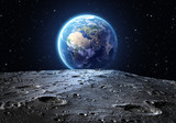Fototapety blue earth seen from the moon surface