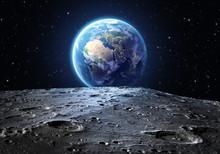 """Постер, картина, фотообои """"blue earth seen from the moon surface"""""""