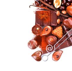 Chocolates border isolated on white. Chocolate sweets