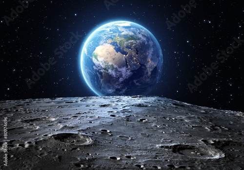 Leinwanddruck Bild blue earth seen from the moon surface