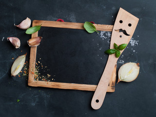 Vintage chalk board with spatula and spice