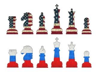 Chess pieces with USA flag and Chess pieces with Russia flag