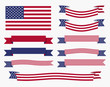 Red white blue american flag, ribbon and banner - 80976049