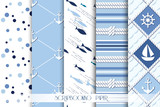 Set of sea and nautical  patterns in white and  blue colors.