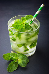 Cold fresh lemonade with mint and ice